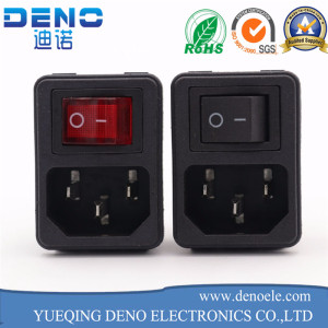 IEC320 DIY AC Male Power Cord Inlet Plug Socket with Red Switch