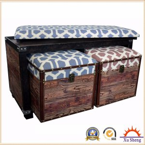 Accent Wooden Linen Coffee Table with Ottoman Stools