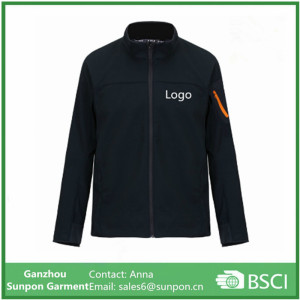 High Quality Black Color Softshell Jacket with Factory Price