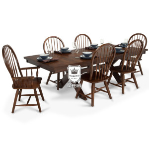 European Solid Wood Dining Room Table with Chair