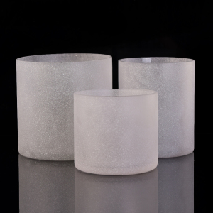 Sandblasted White Frosted Vertical Straight-Walled Glass Candle Holders