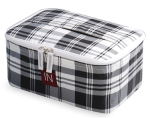 Grid Polyester Cosmetic Case with Zipper