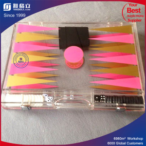 Clear Acrylic Lucite Backgammon Game Set Foldable Game Board