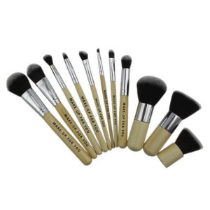 New 11 Pieces Set Cosmetic Makeup Bamboo Handle Brush