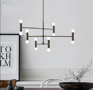 Postmodern Style Decorative Living Room Bedroom Suspension Hanging Pendant Lamp Lighting in Black/Go