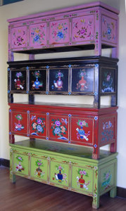 Chinese Antique Furniture Painted Wooden Bench Lwg087