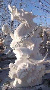 Antique Stone Marble Dragon for Feng Shui Statue Sculpture (SY-T023)