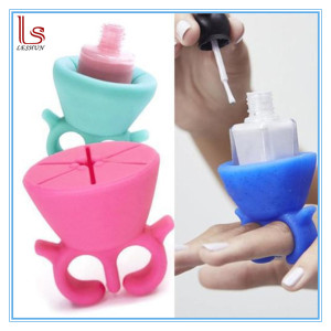 Finger Wearable Silicone Rubber Soft Ring Nail Polish Bottle Holder