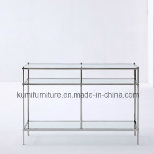 Modern Style Nesting Glass Top Console Table