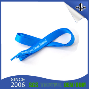 Make blue Color Shoelace with Printed Logo Welcome MOQ