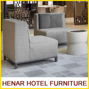 Charcoal Linen Accent Chair/Hotel Robby Sofa with Stainless Steel Base