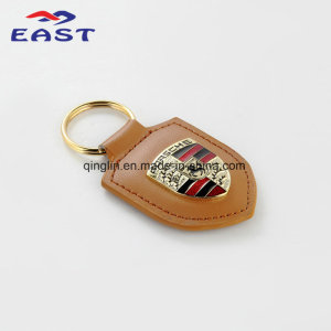 Plated Coloring Genuine Leather Key Chain for Porsche Car