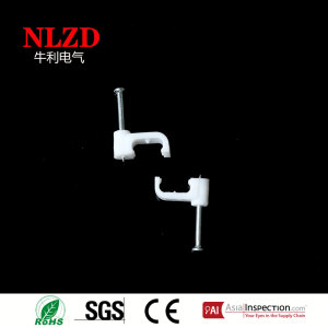 Plastic flat cable clips with nail