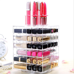 Spinning Lipstick Tower Premium Acrylic Rotating Lipgloss Holder Makeup Organizer