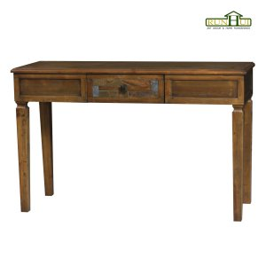 1 Drawer Distressed Wooden Console with Marble Inlay on Panel