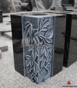 Granite Flower Carving Monument Vase/Tombstone Vase for Cemetery