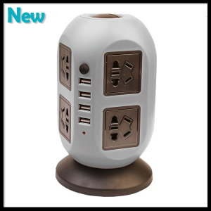 Circuit Breaker 8 Power Socket Electrical Industrial Swith Outlet with 4 USB Plug Socket
