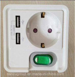 New Design European 1 Gang Switch Socket with Dual USB Charger