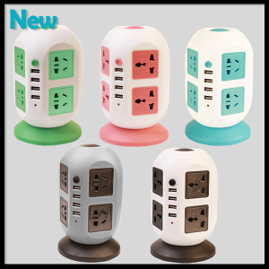 Power Strip with Circuit Breaker Over Current Protector 8 Outlets 4 USB Outputs Ports 2 Metre Power