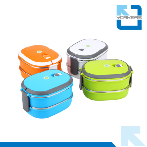 2-Layer Stainless Steel Insulated Bento Lunch Boxes Food Container