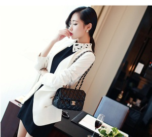 Spring Autumn Fashion Slimming Coat Long Sleeve Lapel Pure Color Leisure Business Suits
