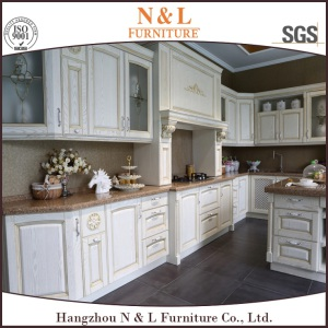 N&L White Solid Wood DIY Kitchen Cabinet From China