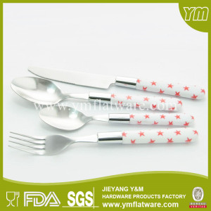 Stainless Steel 18/0 Flatware Set with Plastic Handle for Promotional