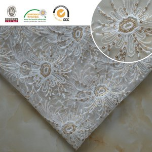 Meltpoly Embroidery with Lurex Lace Fabric Dress Textile