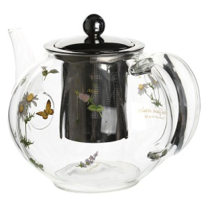 1250ml Heat Resistant Glass Teapot with Decorative Flower