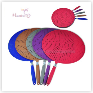 Kitchen Silicone Colorful Flat Strainer with Stainless Steel Handle