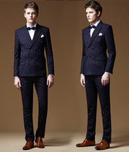 3 Piece Italian Groom Fashion Stripe Wedding Suit for Men