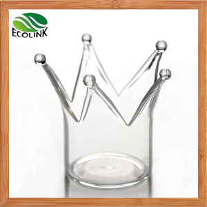 Crown Crystal Glass Candle Holder