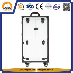 Special Lockable Compartments Trolley Cosmetics Case with Mirror White (HB-4606)