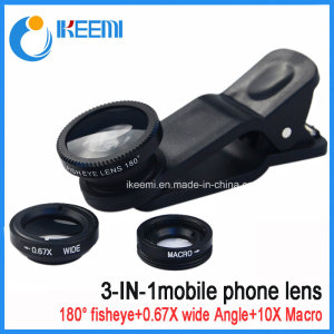 Mobile Phone Camera Lens 3 in 1 Lens Zoom Lens for Mobile Phone with Fisheye Lens+Wide Angle Lens+Ma