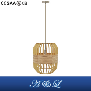 Natural Style Wooden and Wood Skin Mixture Pendant Lamp