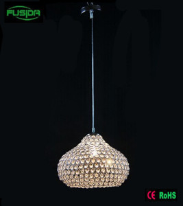 One Chandelier Light Beaded Design White Crystal Pendant Lighting