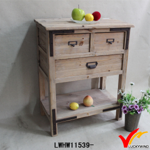 Rough Handmade Rustic Wood Table with Drawers and Shelf