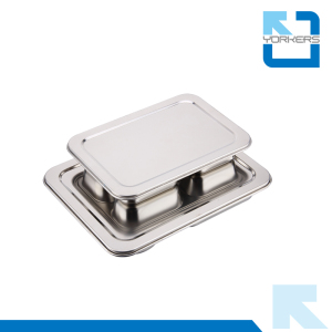 Stainless Steel Mess Tray 4 Compartment Fast Food Plates