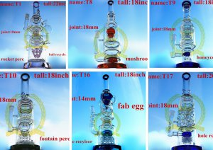 Corona Recycler Tobacco Oil Rigs Tall Glass Smoking Water Pipe with Color Bowl