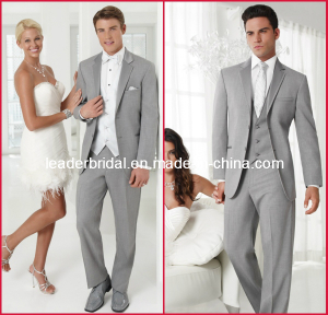 Customer Made Top Quality Fashion Silver Suits Formal Office Tuxedo for 4 Pieces-Coat+Pants+Vest+Nec
