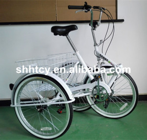24 Inch 6-Speed Folding Tricycle